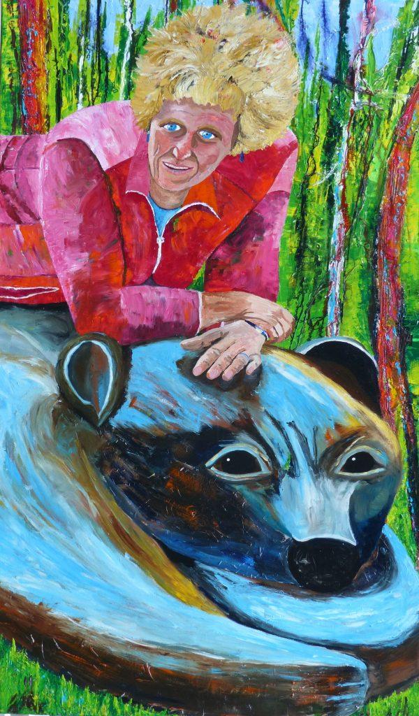 Karin und der Bär (150 x 90 cm)